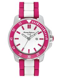 Tommy Bahama - Pink 'laguna' Silicone Bracelet Watch - Lyst