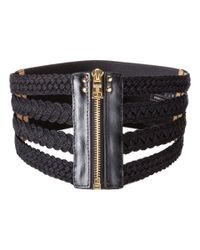 BCBGMAXAZRIA Black Woven Waist Belt