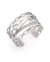 Michael Kors | Metallic Cityscape Chains Pavé Multi-band Cuff Bracelet | Lyst