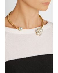 Kenneth Jay Lane | Metallic Gold-plated Faux Pearl Collar Necklace | Lyst