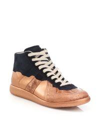 Maison Margiela | Blue Replica Multicolored Leather High-top Sneaker | Lyst