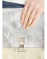 Vita Fede - Metallic Gold-plated Swarovski Nail Ring - Lyst