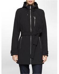 Calvin Klein | Black White Label Hooded Belted Trench Coat | Lyst