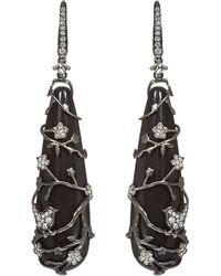 Annoushka - Black Alter Ego Rhodium-plated White-gold, Diamond And Ebony Long Drop Earrings - Lyst