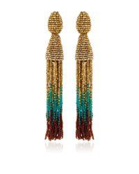 Oscar de la Renta - Multicolor Ombre Beaded Tassel Earrings - Lyst