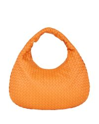 Bottega Veneta | Orange Small Intrecciato Veneta Hobo Bag | Lyst