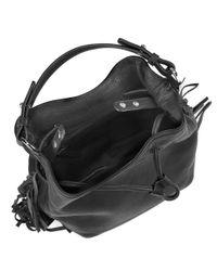 Kenneth Cole Black Fringe Leather Bucket Bag