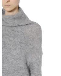 Rick Owens Gray High Neck Mohair Silk Blend Sweater