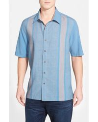 Nat Nast Blue 'konica' Regular Fit Silk & Cotton Sport Shirt for men