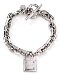 Michael Kors Metallic Chain Link Padlock Toggle Bracelet