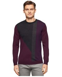 Calvin Klein - Purple Geometric Colorblocked Sweater for Men - Lyst