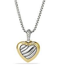 David Yurman - Metallic Cable Heart Pendant On Chain - Lyst