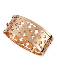 Katie Design Jewelry | Pink Rose Gold Crosses Cuff Bracelet | Lyst