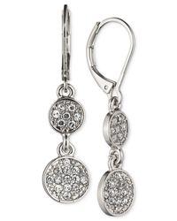 Nine West | Metallic Crystal Double Drop Earrings | Lyst