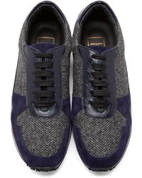 Wooyoungmi Purple And Grey Tweed Sneakers for men