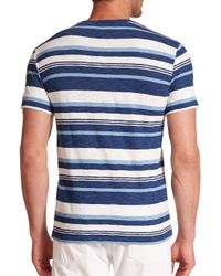 Polo Ralph Lauren - Blue Striped Cotton Jersey Tee for Men - Lyst