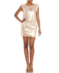 Maje | Pink Rose Metallic Dress | Lyst