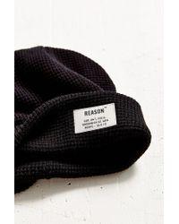 Reason | Black Waffle Knit Field Beanie | Lyst