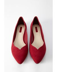 Forever 21 - Red Faux Suede Pointed Flats - Lyst