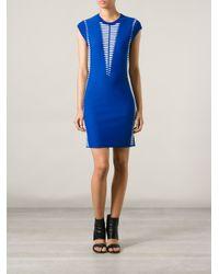 Alexander McQueen - Blue Patterned Sweater Dress - Lyst