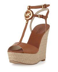 Michael Kors Brown Keely Logo Wedge Sandal