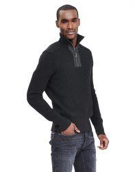 Banana Republic   Black Leather-trim Half-zip Pullover for Men   Lyst