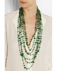 Rosantica Green Pegaso Golddipped Agate Necklace