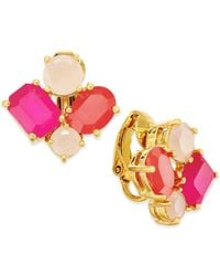 kate spade new york | Pink 14k Gold-plated Multicolor Cluster Clip-on Earrings | Lyst