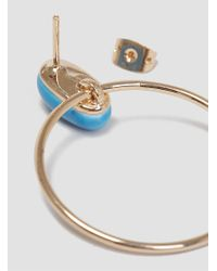 Helena Rohner Metallic Oval Porcelain Hoop Earrings Summer Blue