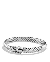 David Yurman Metallic Cable Buckle Bracelet With Diamonds