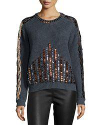 KENZO - Blue Embellished Long-sleeve Sweater - Lyst