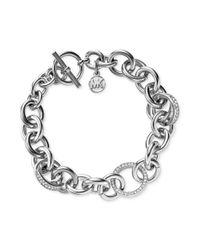 Michael Kors Metallic Silvertone Crystal Pavè Link Toggle Bracelet
