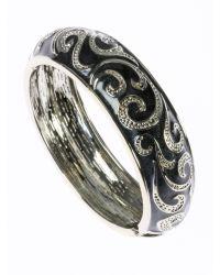 Indulgence Jewellery - Gray Dark Grey Round Bangle - Lyst