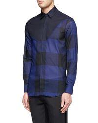 Neil Barrett - Blue Large Plaid Panel Cotton Shirt for Men - Lyst