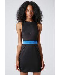 TOPSHOP Black Sporty Mesh Waist Bodycon Dress