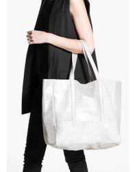 Mango Metallic Suede Shopper Bag