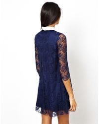 TFNC London - Blue Lace Shift Dress with Contrast Collar - Lyst
