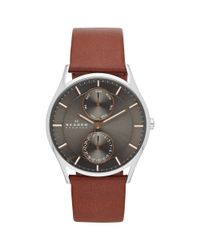 Skagen Brown Skw60 Men'S Holst Multi-Function Leather Strap Watch for men