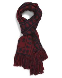 Alexander McQueen | Blue Skull Fringed Wool Scarf for Men | Lyst