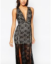 Love Triangle Black Lace Plunge Front Maxi Dress With Ladder