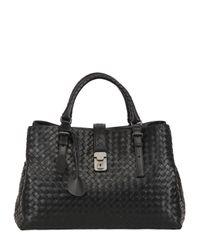 Bottega Veneta Black Roma Classic Intreccio Nappa Leather Bag