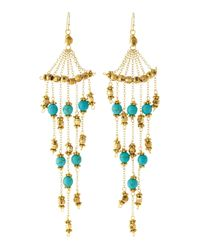 Nakamol - Metallic Graduated Sixstrand Beaded Chandelier Earrings Turquoise - Lyst