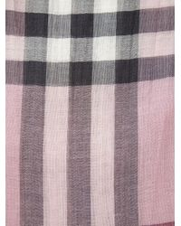 Burberry - Pink Checked Scarf - Lyst