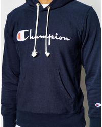 Champion Blue Hoodie With Script Logo for men