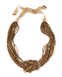 Lafayette 148 New York | Brown Multi-strand Knot Necklace | Lyst