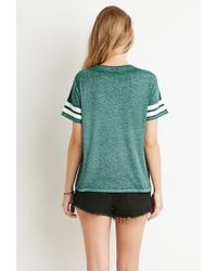 Forever 21 | Green Varsity Stripe-sleeved Tee | Lyst
