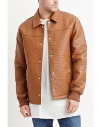 Forever 21 | Brown Faux Leather Jacket for Men | Lyst