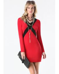 Bebe Red Crisscross Sweater Dress