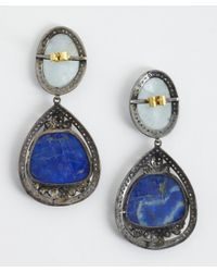 Amrapali | Blue 'colored Stone Collection Diamond' Lapis & Aquamarine Drop Earrings | Lyst
