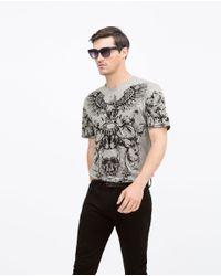 Zara | Gray Round Neck T-shirt for Men | Lyst